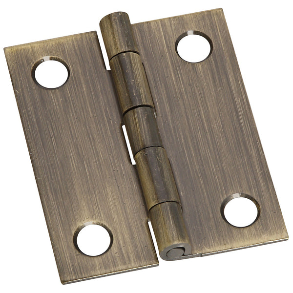 "National N211-367 Solid Brass Hinges, Antique Brass, 1-1/2"" x 1-1/4"", 2-Pack"