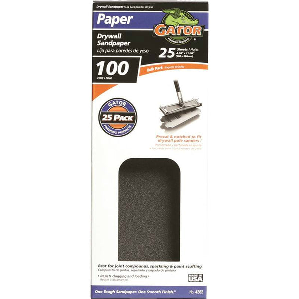 "Gator 3311 Silicon Carbide Drywall Sandpaper, 4.25"" x 11.25"", 100 Grit"