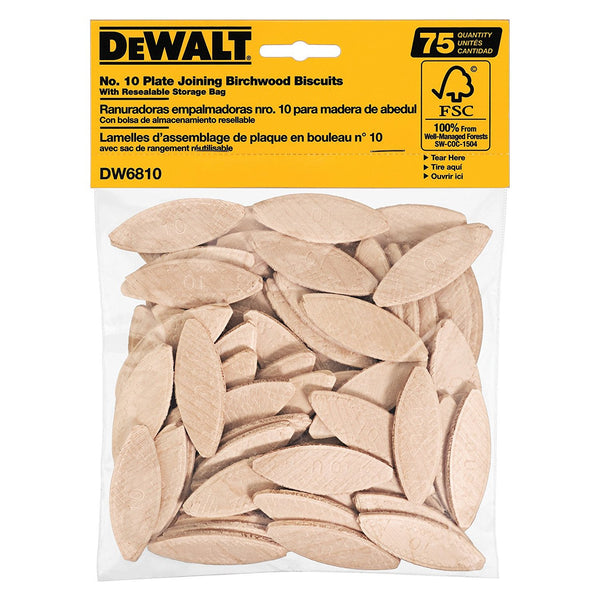 DeWalt DW6810 Plate Joining Birchwood Biscuits with Storage Bag, #10, 75 Count