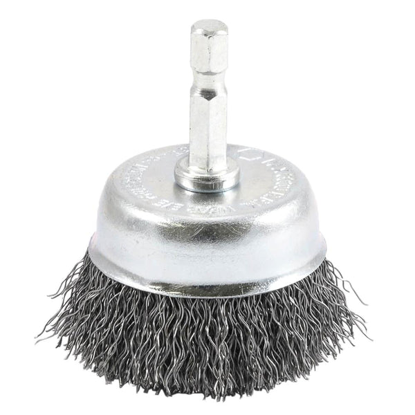 "Forney 72729 Crimped Wire Cup Brush, 1/4"" Hex Shank, 2"" x 0.012"""