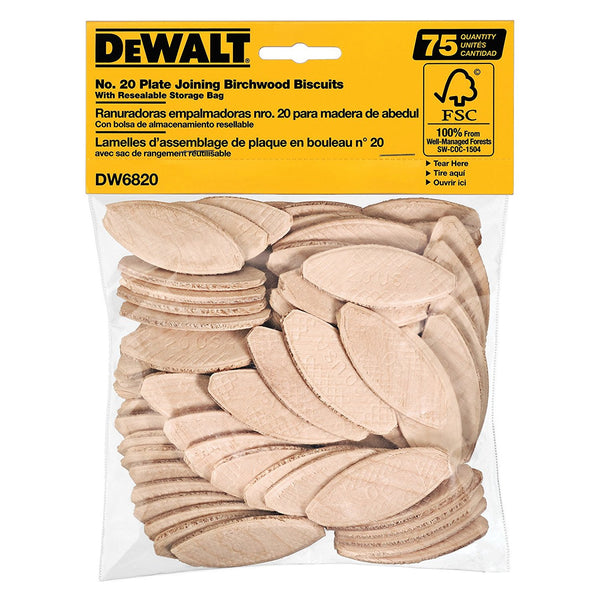 DeWalt DW6820 Plate Joining Birchwood Biscuits with Storage Bag, #20, 75 Count
