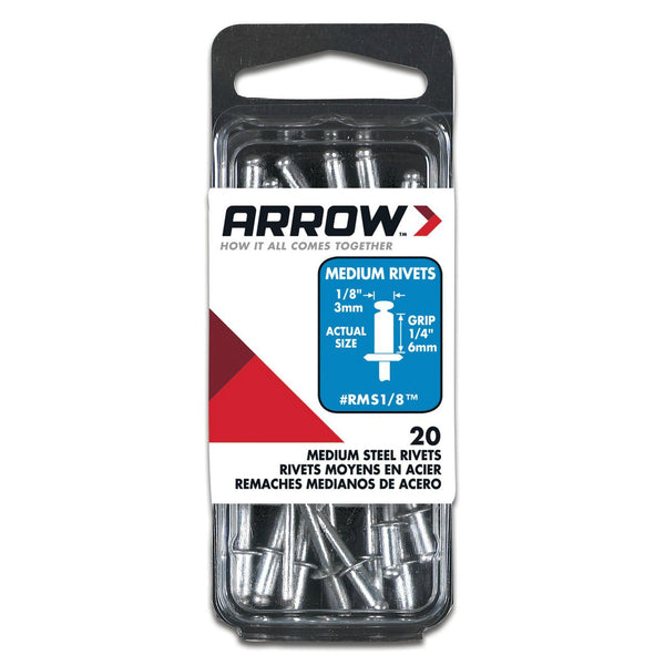 "Arrow RMS1/8 Medium Steel Rivets, 1/8"", 1/4"" Length, 20 Piece"