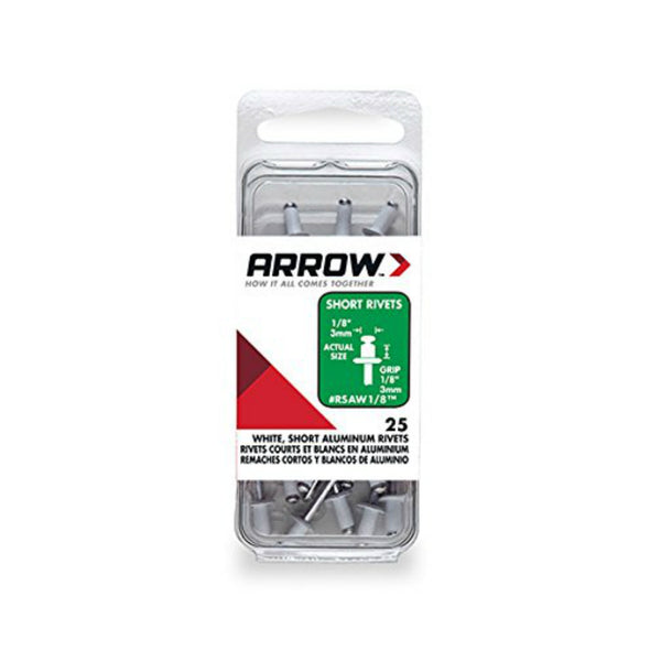 "Arrow RSAW1/8 Short Aluminum White Rivets, 1/8"", 1/8"" Length, 25 Piece"