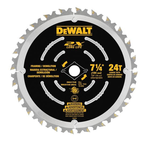 DeWalt DWA31724D Long Life Saw Blade with 24-Teeth, 7-1/4""