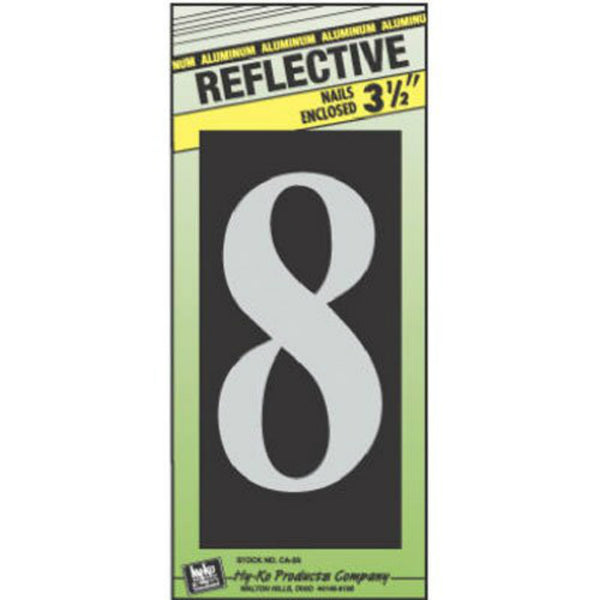 Hy-Ko CA-25/8 Reflective Aluminum House Number-8 with Nail, 3-1/2""