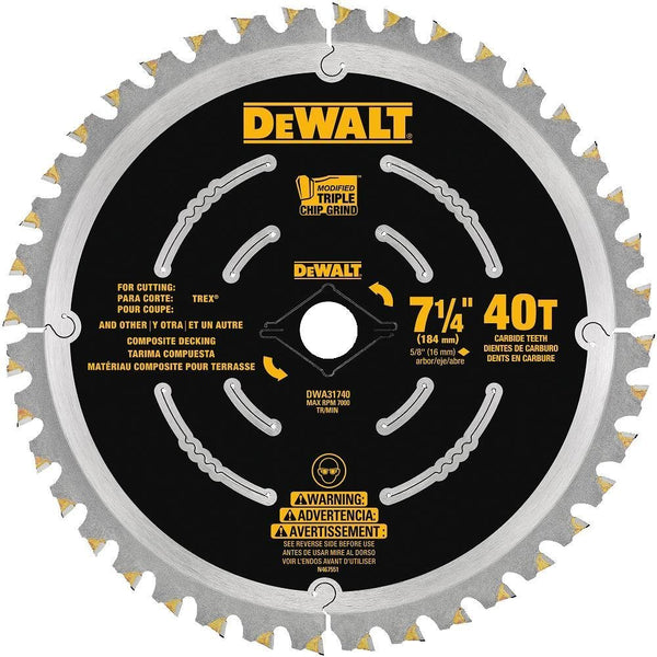 DeWalt DWA31740 Composite Decking Saw Blade, 40-Teeth, 7-1/4""