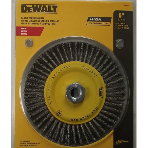 "DeWalt DW49202B High-Performance Carbon Wire Wheel, 5/8"" - 11 Arbor, 6"" Diameter"
