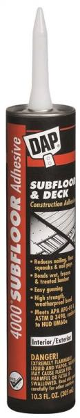 Dap 25028 High-Strength Subfloor & Deck Construction Adhesive, 10.3 Oz, Tube, Tan, Paste