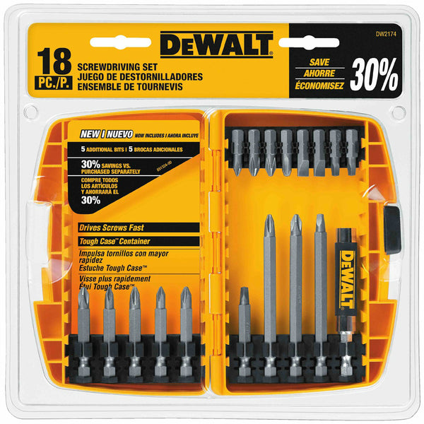 DeWalt DW2174 Screwdriving Set with Tough Case, 18-Piece