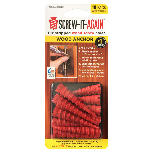 Screw-It-Again SIA-10PK Specialty Wood Anchor, 10-Count
