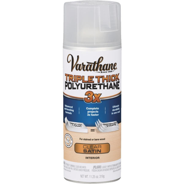 Varathane 318290 Triple Thick Polyurethane Spray, Satin, 11.25 Oz Aerosol