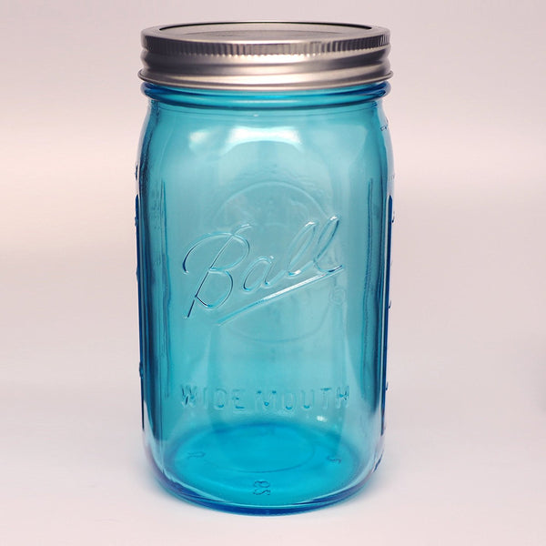 Ball 1440069024 Collection Elite Color Series Wide Mouth Jar, Blue, 32 Oz, 4-Ct