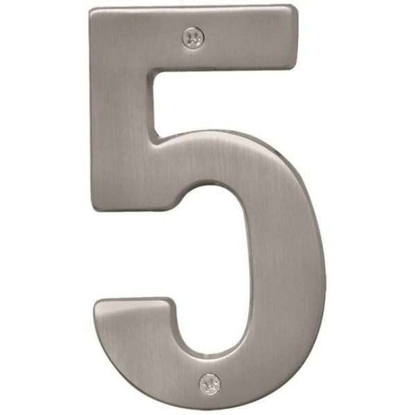 Hy-Ko BR-51SN/5 Prestige Satin Nickel House Number 5, 5""