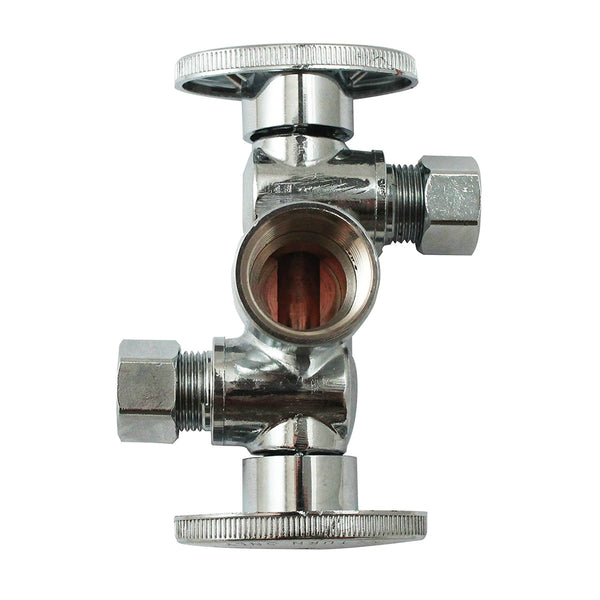 "Keeney K2901DHLF Quarter Turn Shut-Off Valve, Brass, 1/2"" x 3/8"" x 3/8"" O.D."