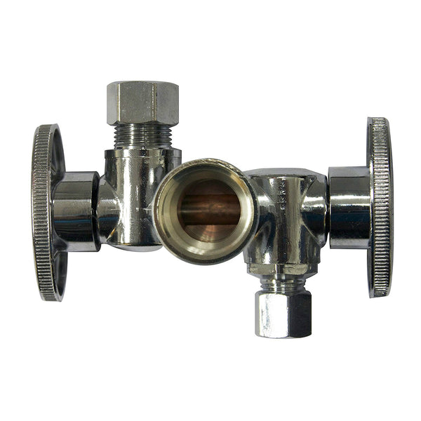 "Keeney K2903DHLF Quarter Turn Shut-Off Valve, Brass, 5/8"" x 3/8"" x 3/8"" O.D."