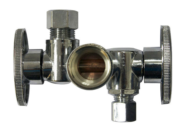 "Keeney K2904DHLF Quarter Turn Shut-Off Valve, Brass, 5/8"" x 3/8"" x 1/4"" O.D."