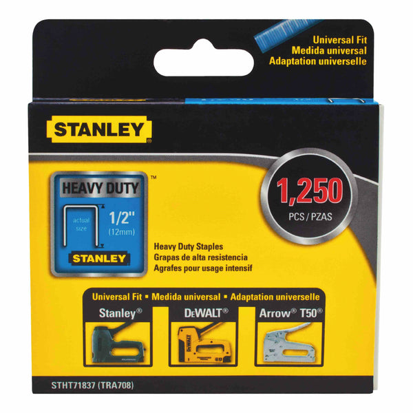 "Stanley STHT71837 Heavy-Duty Narrow Crown Staples, 1/2"", 1250-Piece"