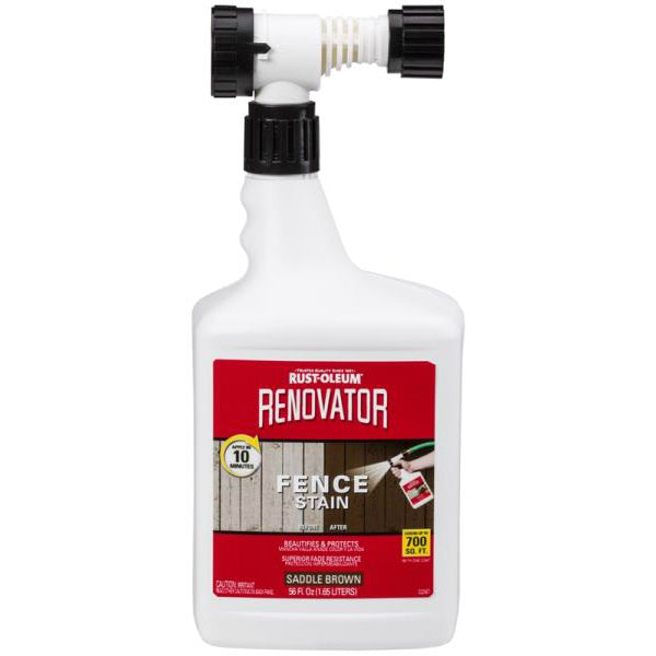 Rust-Oleum 321639 Renovator Semi-Transparent Fence Stain, Saddle Brown, 56 Oz