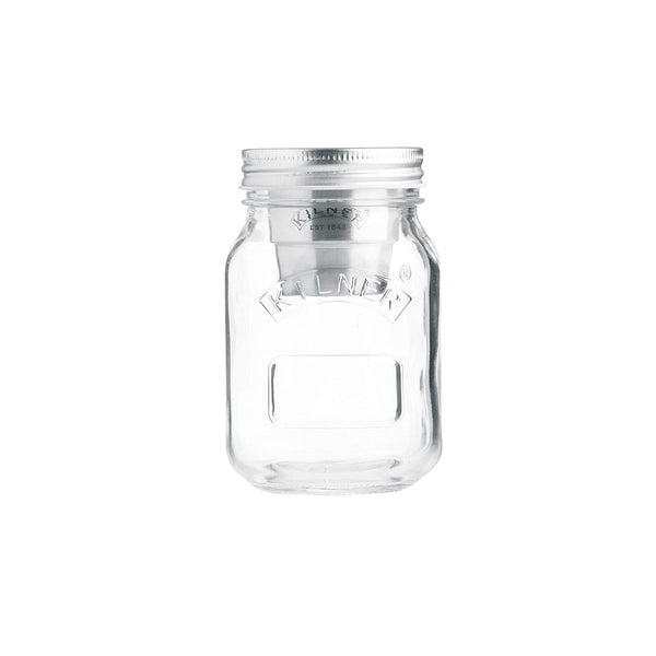 Kilner 0025-814 Snack On-The-Go Glass Preserve Jar w/ Stainless Steel Pot, 17 Oz