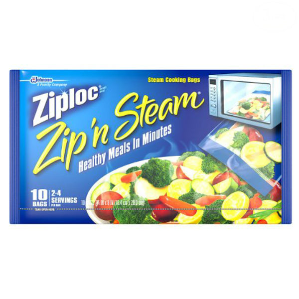 Ziploc 95689 Zip'N Steam Cooking Bags, Medium, 10 Count