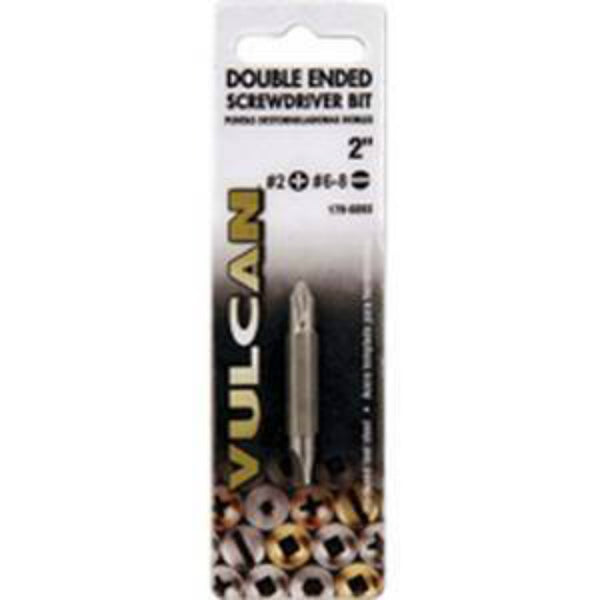 Mibro 308801OR Double-Ended Steel Screwdriver Bit, Chrome, 2""