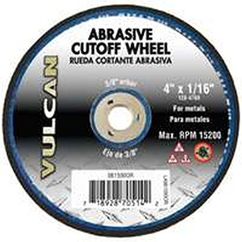 "Vulcan 981590OR Aluminum Oxide Abrasive Cut-Off Wheel, 3/8"" Arbor, 4"" x 1/16"""