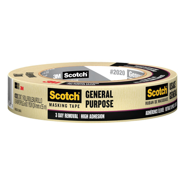 "Scotch 2020-1A General Purpose Masking Tape, Beige, 0.94"" x 60.1 yd"