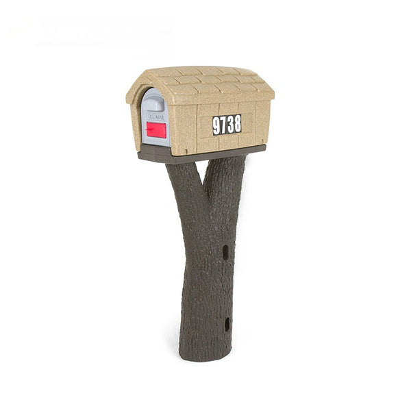 Simplay3 41608R-01 Rustic Home Mailbox with Tree Branch Style Post, Sand Stone