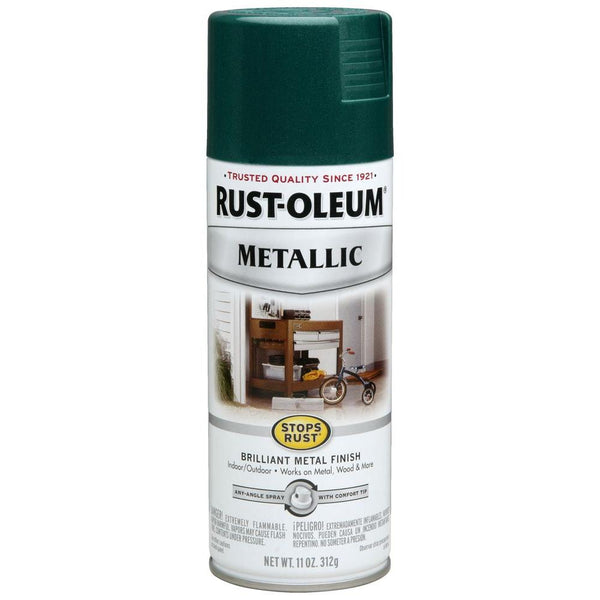 Rust-Oleum 7252830 Stops Rust Metallic Spray Paint, Racing Green, 11 Oz