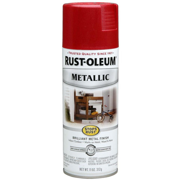 Rust-Oleum 7256830 Stops Rust Metallic Spray Paint, Apple Red, 11 Oz