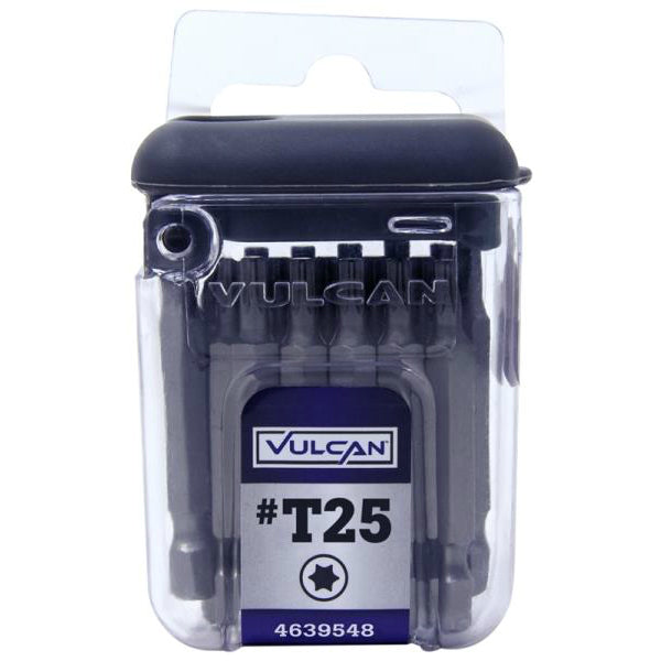 "Vulcan 322891OR Torx T25 Screwdriver Bits, 1/4"" Hex Shank, 2"""