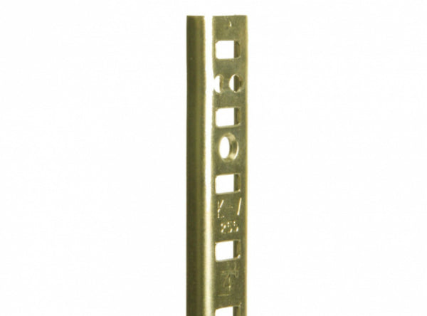 "Knape & Vogt PK255BR60 Steel Mortise Pilaster Shelf Standard 60"", Brass Plated"