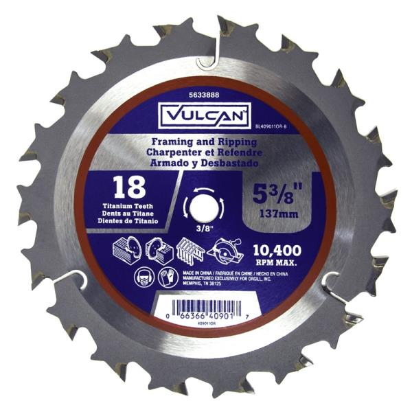 "Vulcan 409011OR High Speed Circular Saw Blade, 25/64"" Arbor, 18-Teeth, 5-3/8"""