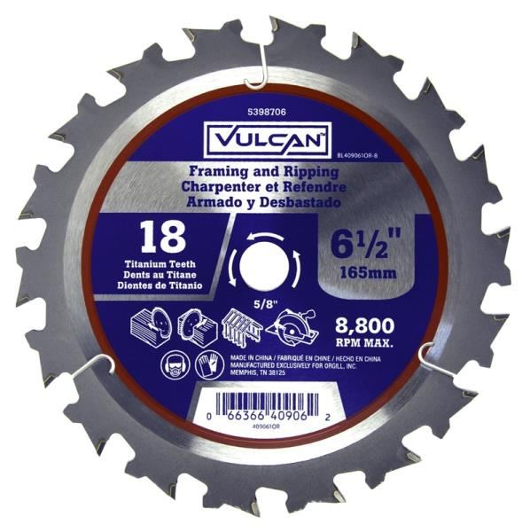 "Vulcan 409061OR Smooth Cut Circular Saw Blade, 5/8"" Arbor, 18-Teeth, 6-1/2"""