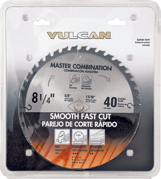 Vulcan 414831OR Fast Cut Thin Kerf Carbide Circular Saw Blade, 40-Teeth, 8-1/4""