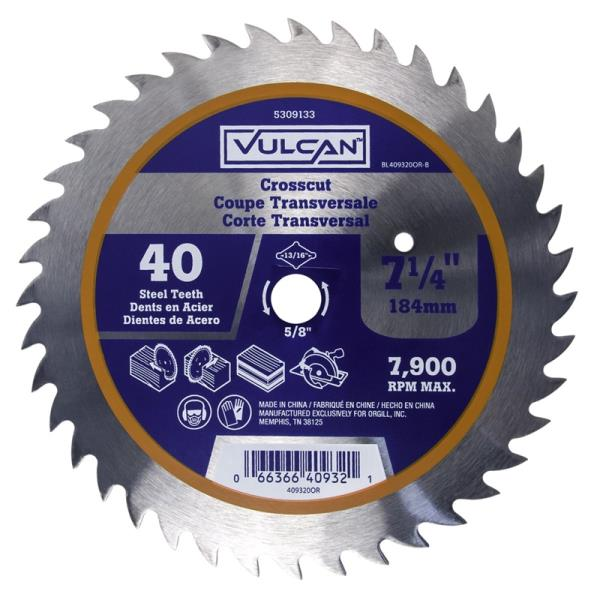 Vulcan 409320OR Steel Thin Kerf Circular Saw Blade, 40 Teeth, 7-1/4""