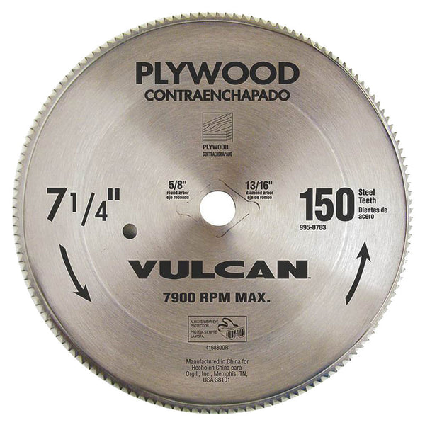 Vulcan 416880OR Smooth Fast Cut Steel Circular Saw Blade for Plywood, 7-1/4""