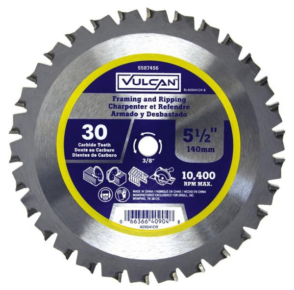 "Vulcan 409041OR Smooth Fast Cut Carbide Saw Blade, 25/64"" Arbor, 30T, 5-1/2"""