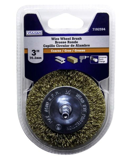 Vulcan 321901OR Coarse Grade Wire Wheel Brush, Carbon Steel, 3""