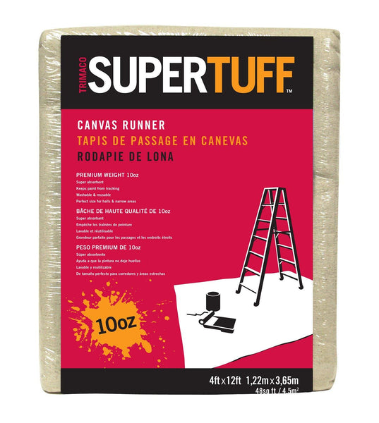 Trimaco 51127 SuperTuff Premium Contractor Grade Canvas Dropcloth, 4' x 12'