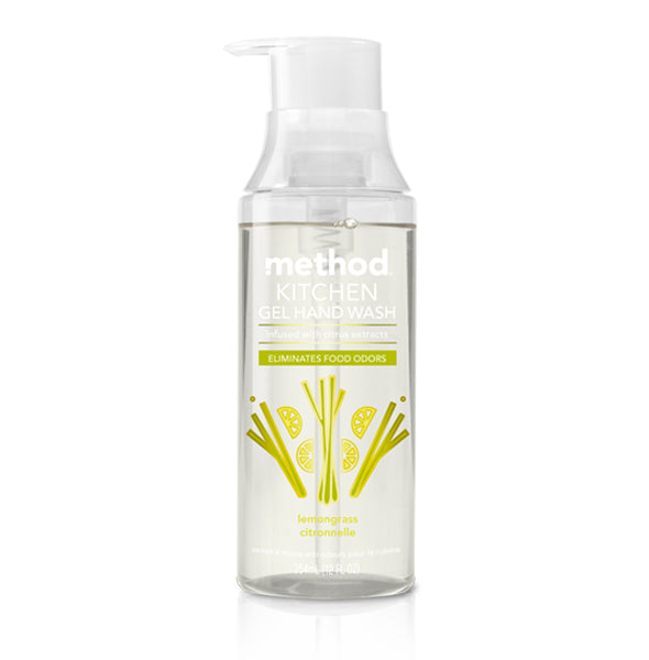 Method 01727 Kitchen Non Drying Gel Hand Wash, Lemongrass Scent, 12 Oz