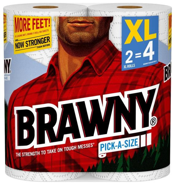 Brawny 44156 Pick-A-Size 2-Ply Paper Towels, White, 2XL Rolls