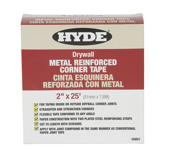 "Hyde 09891 Drywall Metal Reinforced Corner Flexible Paper Tape, 2"" x 25'"