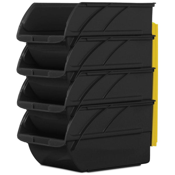 Stanley 057304R Stackable & Mountable #3 Storage Bins with Hangers, 4-Pack