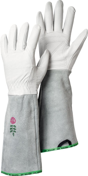 Hestra Job 7341002008 Goatskin Leather Garden Rose Gloves, Medium, Off White