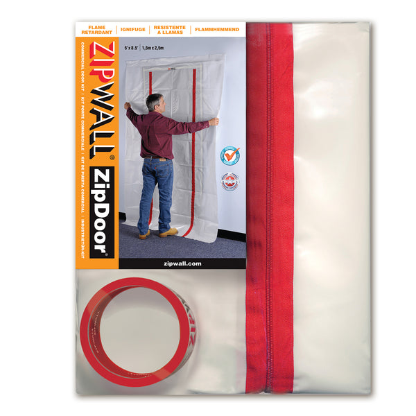 ZipWall ZDC ZipDoor Airtight Flame-Retardant Commercial Door Kit, 4 Mil, 4'x8'