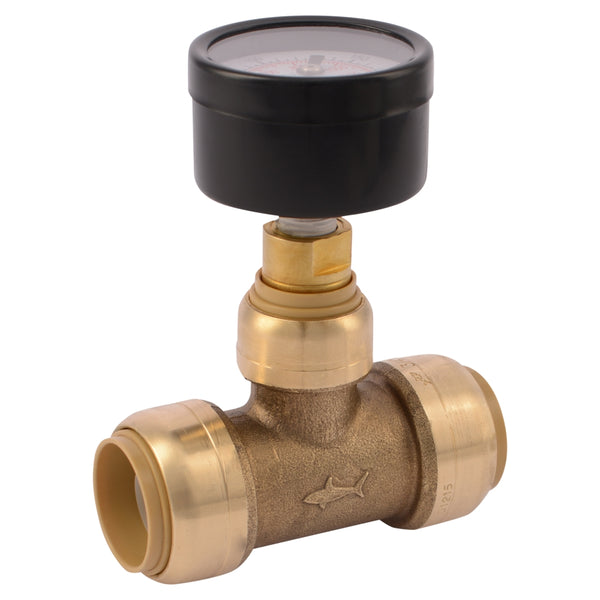 "SharkBite 24438A Water Pressure Gauge with 3/4"" Brass Push-To-Connect Tee"