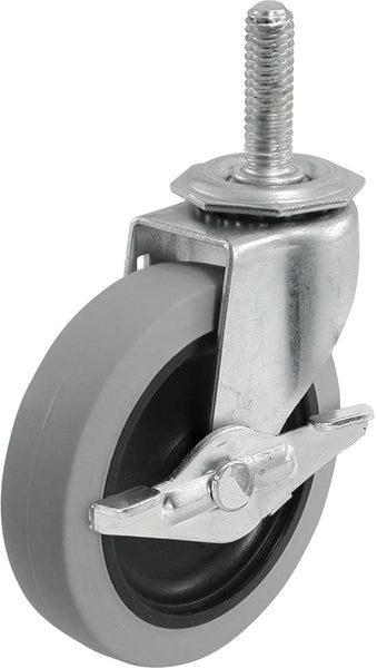 Richelieu F24733 Threaded Stem TPR Wheel Caster with Brake, 110 Lb, 3""
