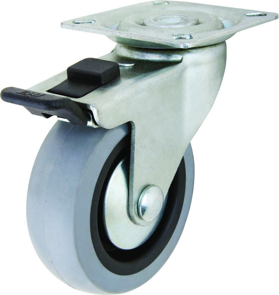 Richelieu F24785 Rubber Wheel Swivel Caster with Full Lock Brake, 110 Lb, 2""