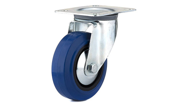 Richelieu F08335 Blue Elastic Rubber Wheel Swivel Caster, 132 Lb Load, 4""